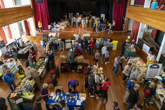 The Elgin Food and Drink Festival 2018 in Elgin, Moray, Scotland on Saturday 18 August 2018. PICTURE CONTENT:- Overall view of the Hall contents
