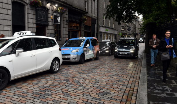 The taxi rank at Back Wynd, Aberdeen