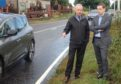 Heldon community councillor Willie Duncan meets Moray MP Douglas Ross in Fogwatt.