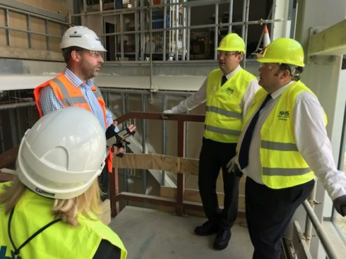 Shadow Health Secretary Miles Briggs joined Highlands and Islands MSP Jamie Halcro Johnston in a visit to the new Balfour Hospital site in Kirkwall.