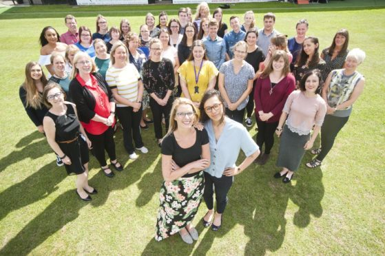 Kirsty Franklin and Sophia Chin, pictured front, and the rest of the 46 NQTs about to start teaching in Moray