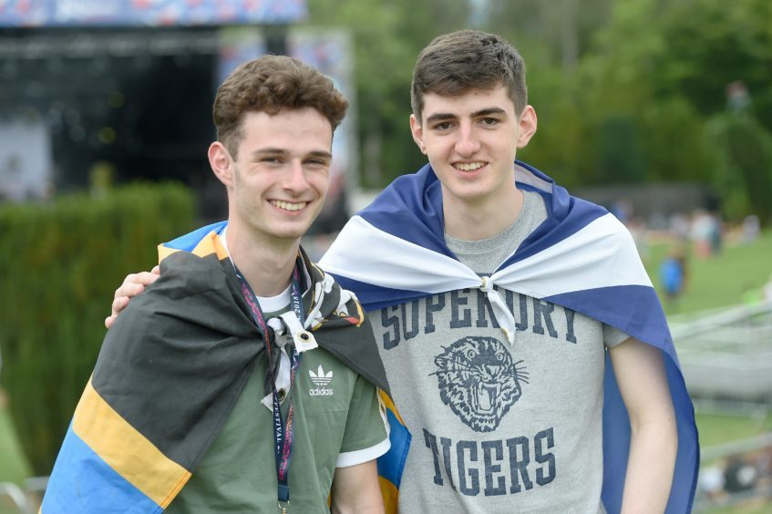 Picture by SANDY McCOOK  3rd August '18 Belladrum 2018 Friday night.  Morgan Kennedy (left) of Reay and Ewan Adamson of Thurso.