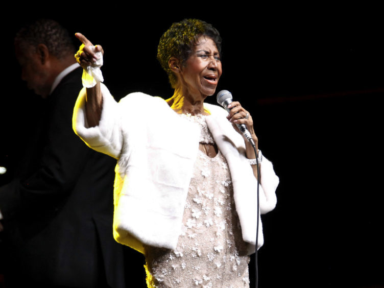 Aretha Franklin attends the Elton John AIDS Foundation's 25th Anniversary Gala in New York.