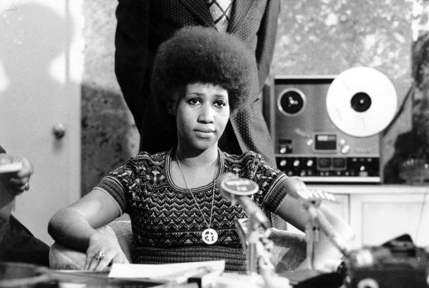 In this March 26, 1973 photo, soul singer Aretha Franklin appears at a news conference.
