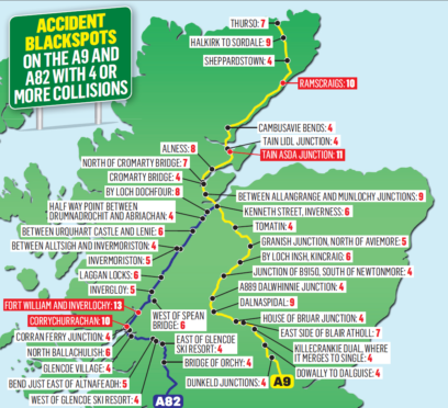 Shock as new figures reveal accident blackspots on A9 and A82