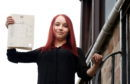 Daniela Moskaliovate, with her higher exams results in Peterhead.  Picture by Jim Irvine