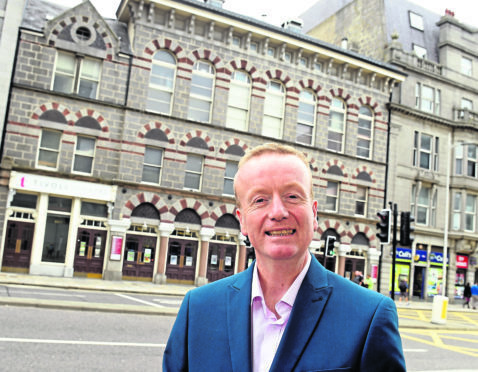 Adrian Watson outside the Tivioli Theatre, Guild Street, Aberdeen.  Picture by Jim Irvine.