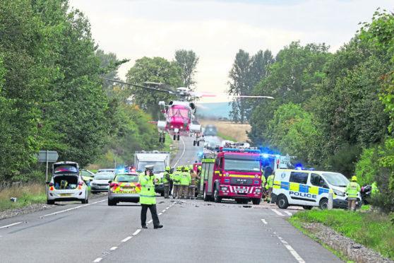 The crash on the A9 involving three motorists.
