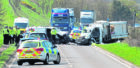 Picture from the two vehicle crash on the A90 at Hatton.