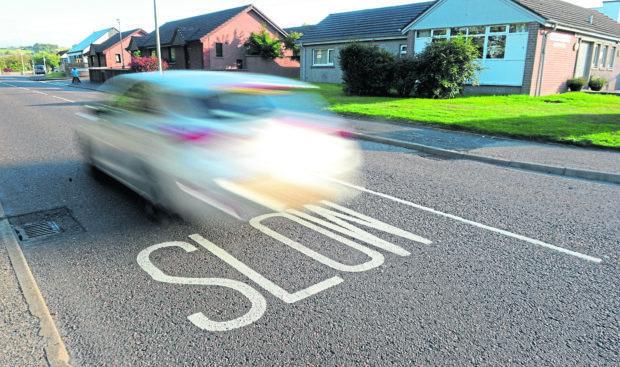 Old Edinburgh Road, Inverness, close to Hilton Primary School where speeding traffic is a concern.