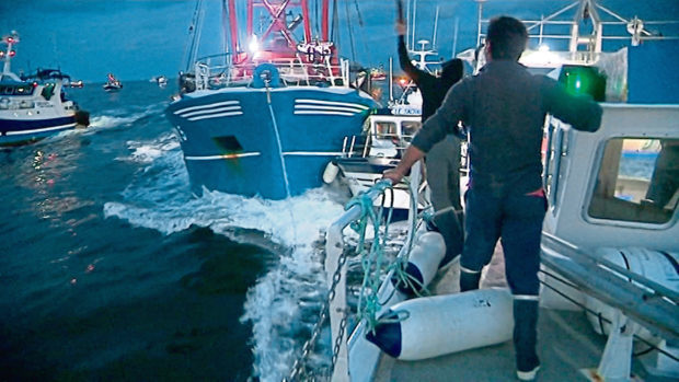 French and British boats clashed off France's northern coast.