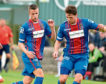 Liam Polworth, left, and Iain Vigurs playing for Caley Thistle in 2016 but they will be rivals this weekend.