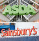 Undated file photos of an ASDA and a Sainsbury's sign. Britain's competition watchdog has launched the second stage of its investigation into the proposed £12 billion merger between the supermarkets. PRESS ASSOCIATION Photo. Issue date: Wednesday September 19, 2018. The deal will now be subject to a so-called Phase Two in-depth probe to assess how it could affect competition for UK shoppers, the Competition and Markets Authority (CMA) confirmed. See PA story CITY Sainsbury. Photo credit should read: Yui Mok/PA Wire