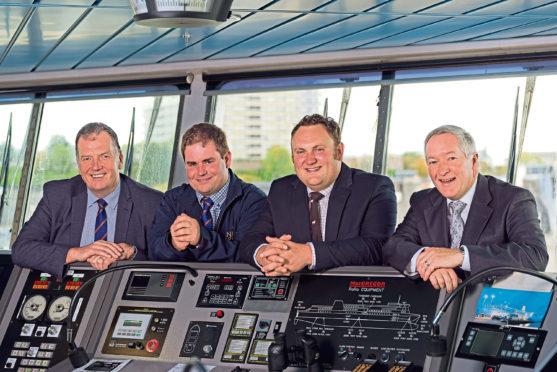 John Gregor and Tim McDonald from ANM Group with Aberdeen Fatstock Association chairman Ross Williams, and NorthLink Ferries managing director Stuart Garrett.