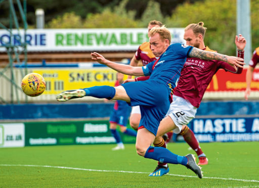28/09/18 LADBROKES CHAMPIONSHIP  INVERNESS CT VS QOTS   THE TULLOCH CALEDONIAN STADIUM - INVERNESS  Inverness CT's Carl Tremarco has a shot on goal