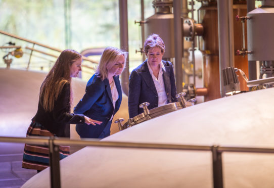 Karen Betts, chief executive of the Scotch Whisky Association, pictured right, toured Macallan with the Chief Secretary to the Treasury, Liz Truss, pictured middle.