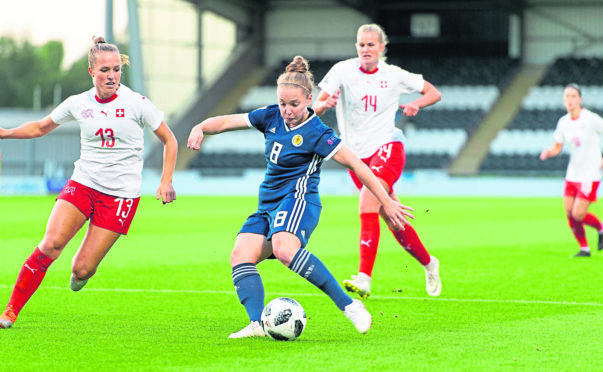 Kim Little of Scotland scores the second goal in the FIFA Women's World Cup 2019 Qualifier between Scotland and Switzerland.