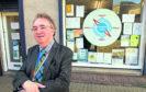 Councillor Stephen Calder, outside Compass Point in Peterhead.