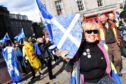 A rally in favour of a second indyref was held at the Castlegate, Aberdeen. Picture by Kami Thomson