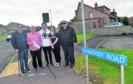 George Wilkinson, Douglas Lamb, Leon Anderson, Jade Forman and Cllr Alan Buchan on Kinmundy Road.