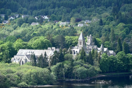 Fort Augustus Abbey with the village of Fort Augustus and the Caledonian Canal.