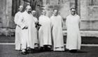 The first monks to return to Pluscarden. Pictured: Brother Andrew Prescott, Dom Ninian Sloane, Brother Cuthbert Swarbrick, Dom Dyfrig Rushton, Dom Maurus Deegan, Dom Brendan McHugh.