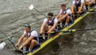 Left-to-right: Oliver Wynne-Griffith, Matthew Tarrant and Alan Sinclair compete in the men's eight at the European Championships in Glasgow.