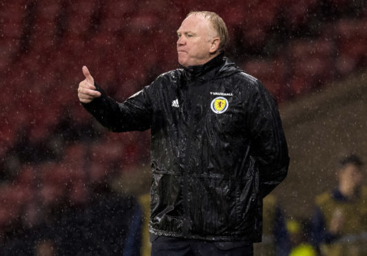 Alex McLeish during last night's 2-0 win over Albania.