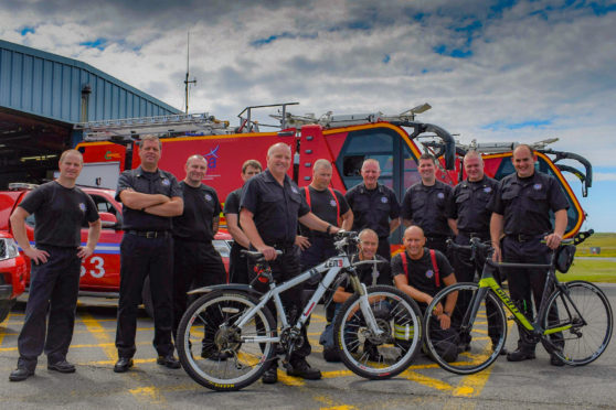 Part of the team who will be completing the charity cycle from Scalpay to Butt of Lewis