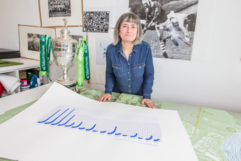 Deidre Nelson (Newtonmore shinty club artist) with artwork showing the numbers involved in running the club.