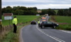 Two car crash on the B9119 road outside Garlogie. 17/09/18 Picture by HEATHER FOWLIE
