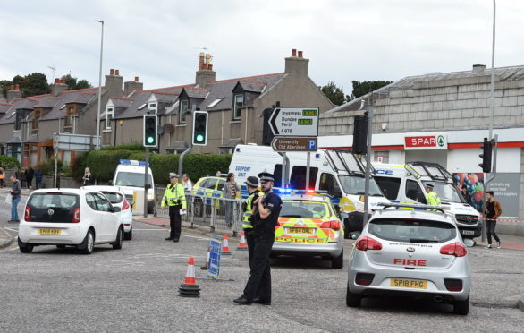 Scene of the collision on King Street at the St Machar Drive junction, Aberdeen.