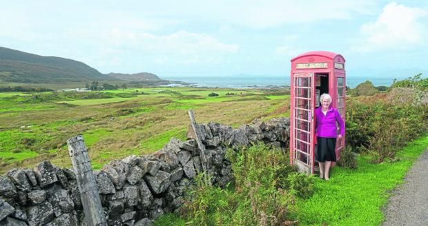 Chrissie MacLachlan at the remote, Kilmory phone box near Kilchoan.
