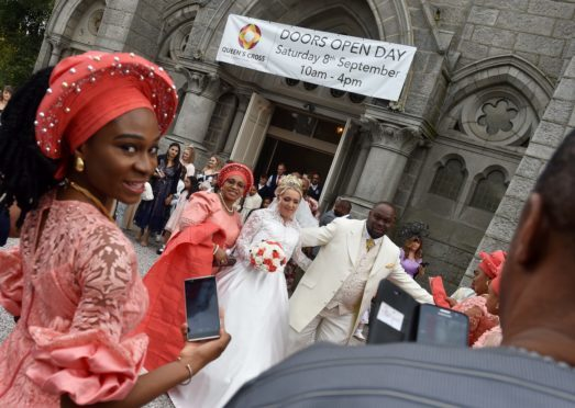 The Doors Open Day at Queen's Cross Church was interrupted with a wedding in the afternoon.  Picture by Colin Rennie.