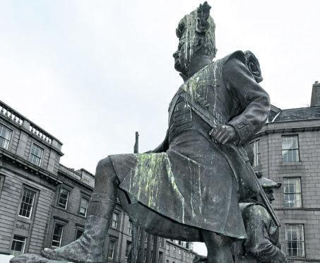 Gordon Highlanders statue at Castlegate in Aberdeen.