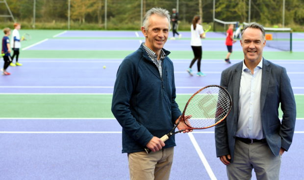 The Chair of Tennis Scotland Scott Martin officially opened the refurbished Aboyne LTC courts on saturday.      Pictured - Aboyne LTC Chair Brian Howell (left) with Scott Martin at the refurbished courts.     Picture by Kami Thomson    22-0-9-18