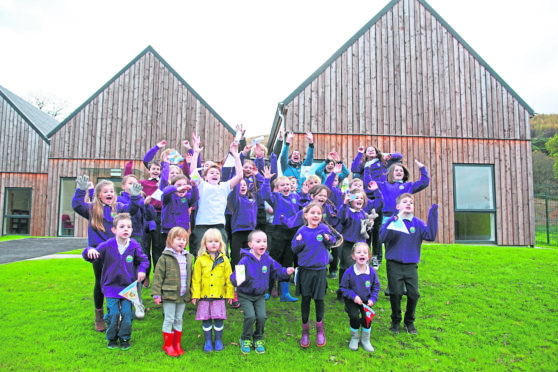 The Strontian Primary School celebrate moving into their new community-built school.