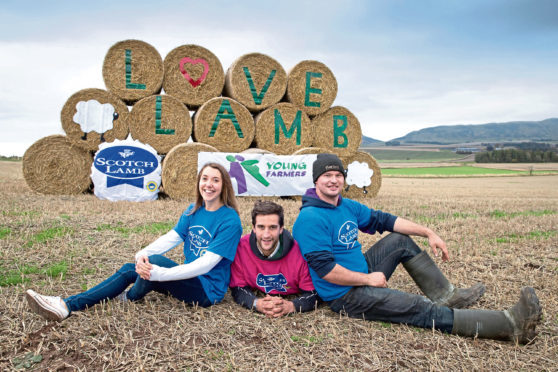 The Scottish Association of Young Farmers Clubs Bale Art supported by Quality Meat Scotland (QMS)&Pictured from left, Katie Warnock YFC East Events Organiser, David Warnock National Chair of SAYFC and Andy Stevenson Chair of Fife & Kinross District YFC with their bale art near Milnathort. for info please contact Claire Higgs at QMS chiggs@qmscotland.co.uk or 0131 510 8042 Picture by Graeme Hart. Copyright Perthshire Picture Agency Tel: 01738 623350  Mobile: 07990 594431