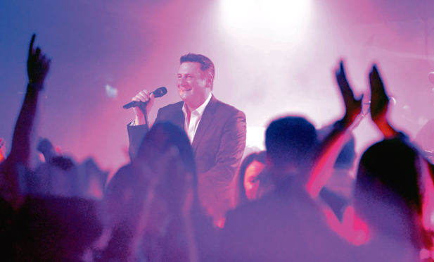 Singer Tony Hadley performs during last year's Energy Snow Ball, which was at Marischal College.