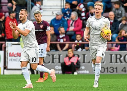 Aberdeen's Gary Mackay-Steven (right) celebrates his goal with Niall McGinn