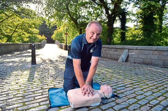 YL Health Spread about Tom Malcom, Aberdeen, 6th September 2018.  Pictured is Tom Malcom, who does first aid training with primary school children but is concered about the lack of funding available to teach first aid.    Picture by Scott Baxter    06/09/2018