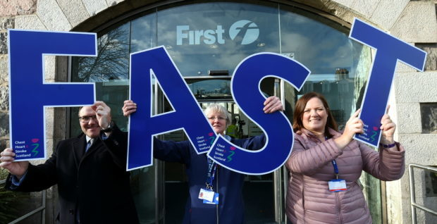 First Aberdeen commercial director Graeme Macfarlan, Gillian Harrold from Chest Heart & Stroke Scotland and NHS Grampian's stroke managed clinical network lead Therese Lebedis
