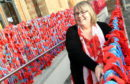 Knitter and organiser Nancy Duncan unveiled her knitted poppy display at Peterhead Baptist Church, King Street, Peterhead, to commemorate the 100th anniversary of the end of the Great War (WW1).