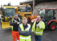 Depot staff, L-R George Anderson,  Councillor Ross Grant and Graeme Ferries