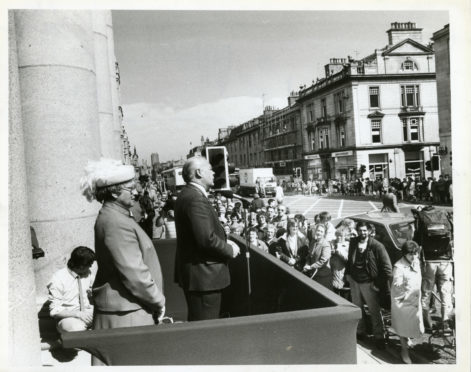 1986; Lord Provost Henry Rae speaks at the opening of the refurbished Music Hall in 1986.