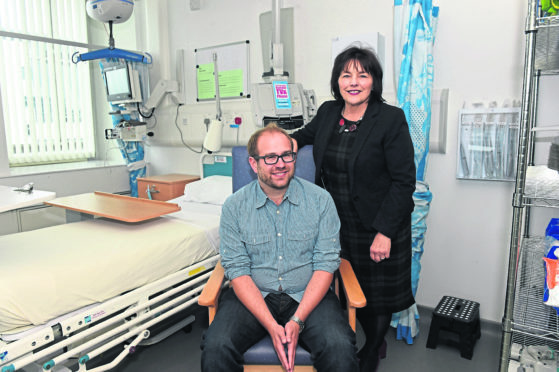 Cabinet Secretary for Health Jeane Freeman with Andrew Irvine
