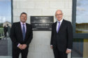 Head teacher Hugh McCulloch and Deputy First Minister John Swinney at the official opening of Elgin High School.