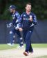 Scotland's Con De Lange celebrates taking another wicket against Zimbabwe in June 2017.