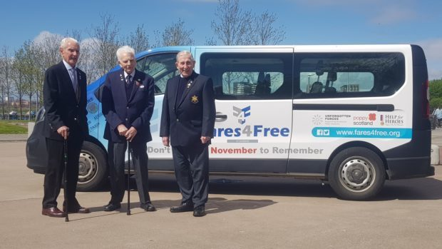 James Docherty, Barney Roberts and Edwin  Leadbetter all served in the Royal Navy in the Second World War and used the Fares4Free service to get to a ceremony commemorating the Arctic Convoys in May this year