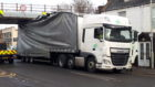 HGV lorry trapped below the Shore Street Bridge this morning.